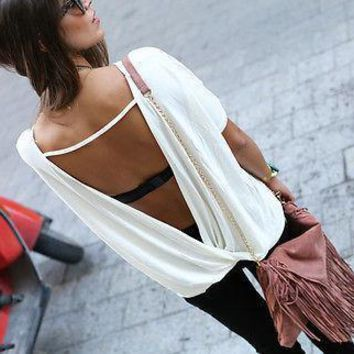 free shipping big size women summer loose casual blouse women s chiffon backless vest tops blouse ladies batwing sleeve blouse