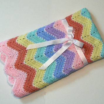 Crochet Rainbow Baby Blanket, Pastel Ripple Afghan, Baby Shower Gift, Baby Girl Gift, Baby Boy Gift, Ripple Baby Blanket, Colorful Blanket