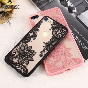 KISSCASE Phone Cases For iPhone 6 6s Plus 7 7 Plus 5 5s SE Luxury Lace Flowers TPU Cover Case For iPhone 7 7 Plus 6 6s Plus 5 5s