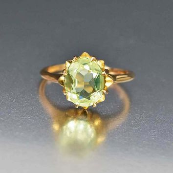 Green Spinel 10K Gold Art Deco Engagement Ring