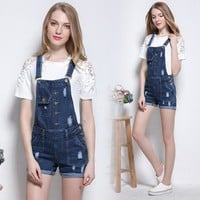 New Denim Shorts Women Jeans Slim strap Overalls Washed Casual Jeans Pocket Fashion Frazzle Plus size Women Short S-5XL