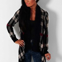 Autumn Solstice Black Tartan Waterfall Knit Cardigan | Pink Boutique