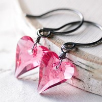 Pink Crystal Heart Earrings Sterling Silver Wire Wrapped Swarovski | FirebirdJewellery - Jewelry on ArtFire