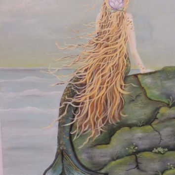 Mermaid Artwork- Original Painting On Canvas- Mixed Media Wall Hanging- 30X36 inches