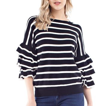 Striped Sweater with Triple Bell Sleeves
