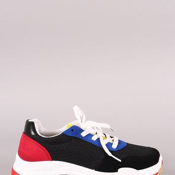 Wild Diva Lounge Suede Colorblock Mesh Trim Lace-Up Sneaker