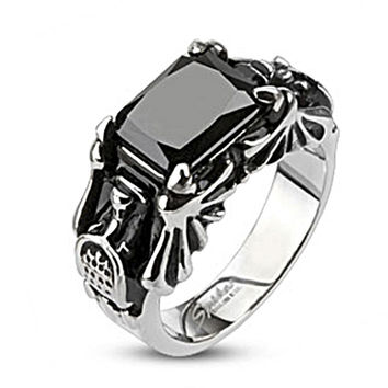Spikes Stainless Steel Onyx Gem Bat Wing Cast Ring