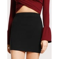 Elastic Waist Bodycon Jersey Skirt Plain