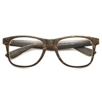 Cool Indie Fashion Wood Print Clear Lens Horned Rim Glasses 8709