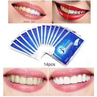 ONETOW 28Pcs/14Pair 3D White Gel Teeth Whitening Strips Oral Hygiene Care Double Elastic Teeth Strips Whitening Dental Bleaching Tools