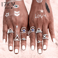 17KM New 8 PCS/SET Vintage Ring Set Punk Bohemian Midi Rings for Women Tibetan Anillos Ring Knuckle Rings for Women Anel 2016