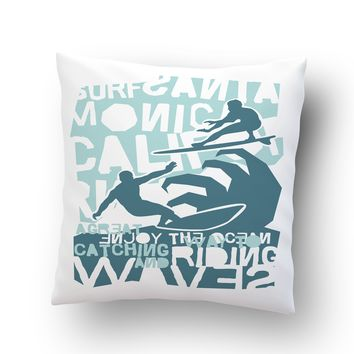 Surfing Cali Throw Pillow Case from Surfer Bedding