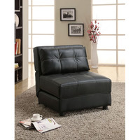 Coaster Furniture 300173 Black Contemporary Armless Lounge Chair/Sofa Bed