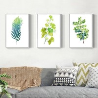 A4 Prints Office Or Living Room Decor Minimalist Posters Green Botanical Leaves Nordic Pictures Modern Canvas Paintings Wall Art
