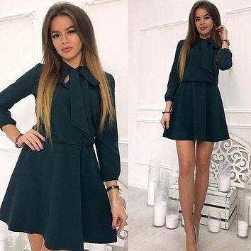 Women Vintage Bow Tie Party Dress Wrist Sleeve A-line O neck Solid Casual Dress 2018 Spring Plus Size Women Mini Sexy Dresses
