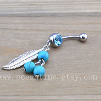 Dream catcher Belly Button Rings,Navel Jewlery,belly ring,blue Turquoise,summer jewelry