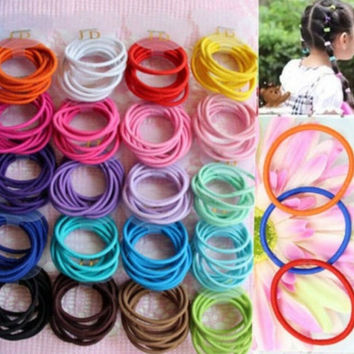 100pcs Mixed Colors Baby Girl Kids Tiny Hair Bands Elastic Ties Ponytail Holder (Color: Multicolor) = 5658543873