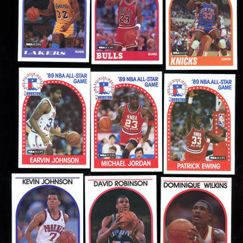"Hoops NBA 1989 Vintage Basketball cards lot of 9 Cards features M.S.U. Star Erwin ""Magic"" Johnson and Michael Jordan, Free Shipping"