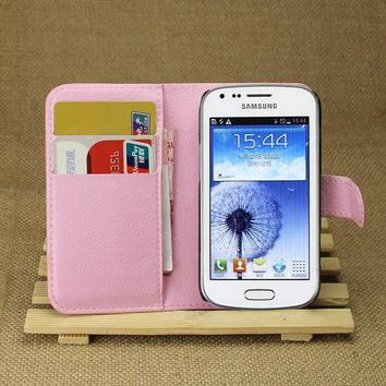 10 Pcs/Lot PU Leather Cover Case For Samsung Galaxy Trend Duos S7562  Flip Protective Mobile Phone Shell Back Cover Skin