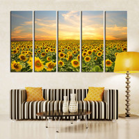 5 Panel Canvas Art Sunflower LARGE Wall Painting Twilight field Flower Decorative Wall Pictures For Living Room Decor No Frame