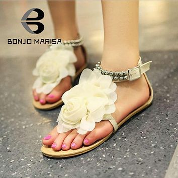 Bohemia 2016 Sandals Female Beaded Flower FLat
