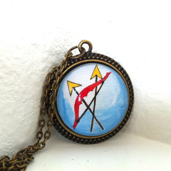 Bow Arrow Pendant Necklace, Hunger Games Inspired, Hand Painted Pendant, Handmade Jewellery, Red and Blue, Round Glass Pendant, Unisex