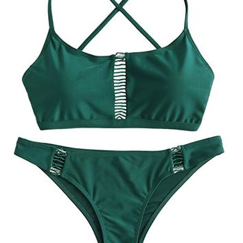 SweatyRocks Women's Sexy Cutout Bikini Set Solid Criss Cross Back Knot Swimwear Sets