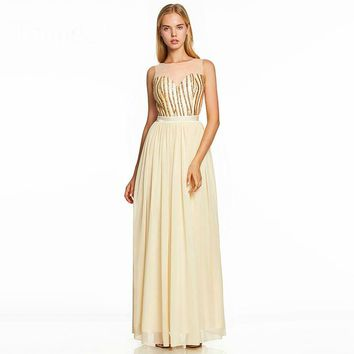 Sequins long dress daffodil scoop neck floor length a line gown women sleeveless wedding party formal dresses