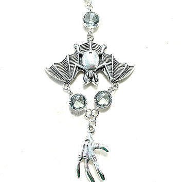 Halloween Jewelry, Spooky Bat Charm, Skeleton Charm, Silver Halloween Necklace