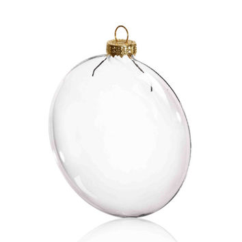 100 Pieces x DIY Paintable 3.15 Inch (80mm) Christmas Decoration Clear Glass Paper Disc Ornament/Ball With a Gold Cap