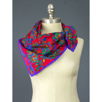 SALE - Floral Scarf - 80s Scarf - Neckerchief - Floral Print Scarf - 1980s Neck Scarf - Purple & Red Scarf - Square Scarf - Multicolor Scarf