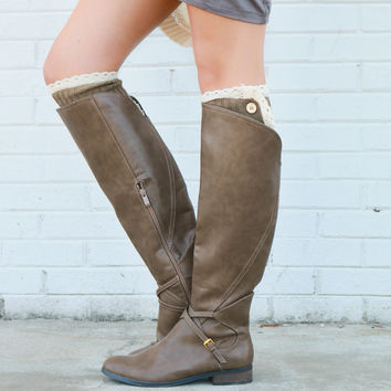 Very Volatile Cabernet Taupe Riding Boot With Cross Strap Accents