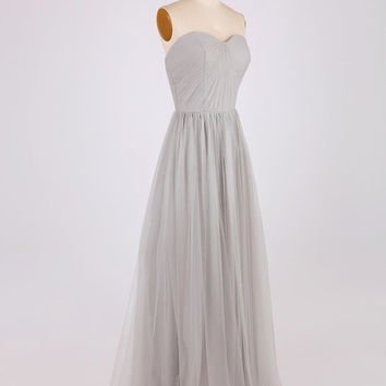 Silver Grey Sweetheart Neckline Tulle Long Bridesmaid Dress/Simple Long Flowy Prom Dress/Wedding Party Dress/Maid of Honor Dress