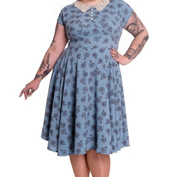 60's Vintage Style Blue Vintage Bicycle Penny Lover Tea Party Dress