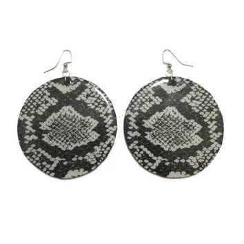 Snake Print Wooden Disc Earrings