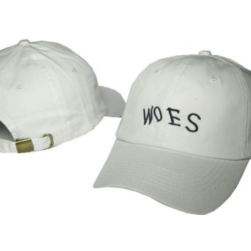 White WOES Embroidered Cotton Hat Baseball Cap
