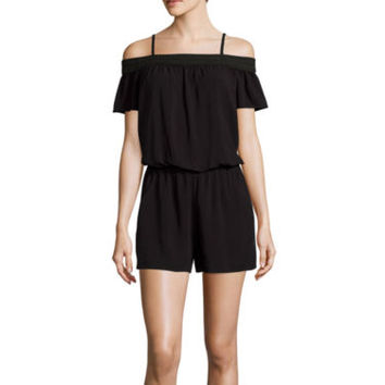 by&by Short-Sleeve Off-the-Shoulder Romper