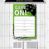 Printable Birthday Invitation, Video Game Party, Game On, Green, Teen, Gaming, Level Up, Gamer, Announcement, DIY,  INSTANT DOWNLOAD