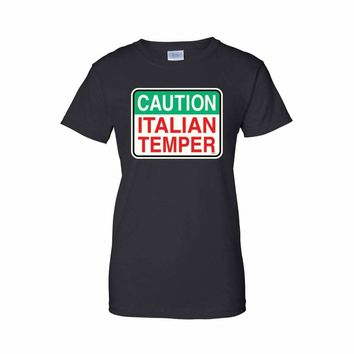 Women's Funny Caution Italian Temper Juniors T-Shirt