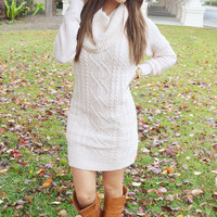 Oh Santa Baby Sweater Dress: Ivory