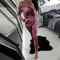 Sexy Off Shoulder Rompers Women Jumpsuit 2016 Autumn Slim Solid Playsuits Ladies Long Sleeve Velvet Slash Neck Casual Overalls