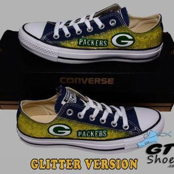 DCCK1IN hand painted converse low green bay packers football yellow glitter cheese superb