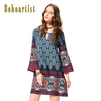Bohemian Day Dresses Multi color Print Flare Sleeve Fashion Casual Female Flare Pattern Clothing Vintage Dress