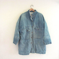 20% OFF SALE...80s light wash blue denim jean jacket // barn coat // women's field coat
