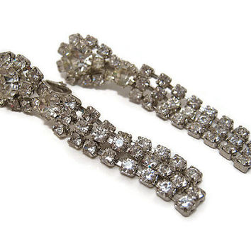 Long Vintage Rhinestone Earrings Clip on Womens Mid Century Formal Jewelry Sparkle Bling Glam Glitzy Ladies Prom Wedding