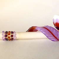 Native Medicine: Spring Rising Peace Pipe with Peyote dots and Feather In White