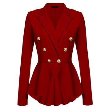 2017 Women Jacket Suit Blazer Spring Irregular Slim OL Double Breasted Suit Blazer Femme Basic Coat Jacket Casual Outwear