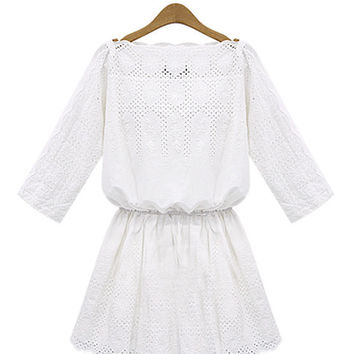 'New Love' White Eyelet Boat Neck Dress