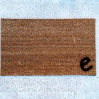 """Welcome Mat Personalized with Single initial - Doormat - """"18x30"""" made from natural coir"""