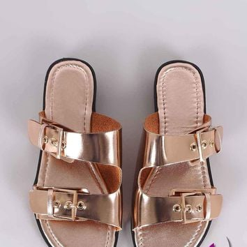 Buckle Accent Double-Band Slide Sandal